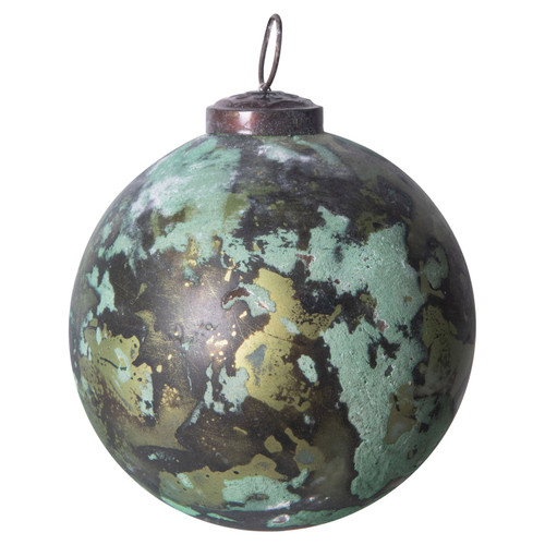 """4"""" Round Green Marbled Glass Ball"""