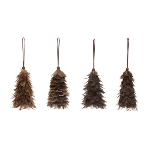 """5.5"""" Feather Tree Ornament w/ Leather Hanger & Wood Bead, Set of 4"""