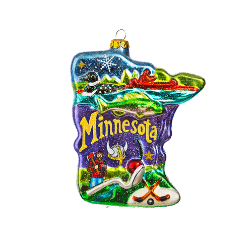 "5"" Giant Glass Minnesota Ornament"
