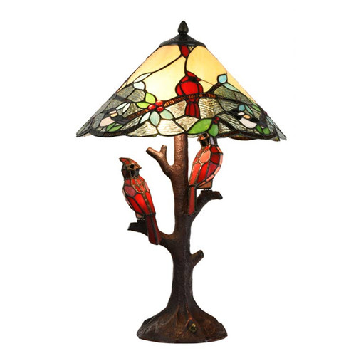 Tiffany Style Cardinal Twins  Table Lamp