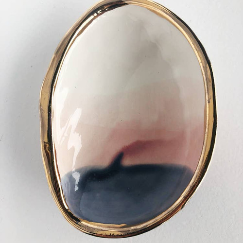 Ceramic Abalone Smudge Dish, in Sunset with 22K Gold