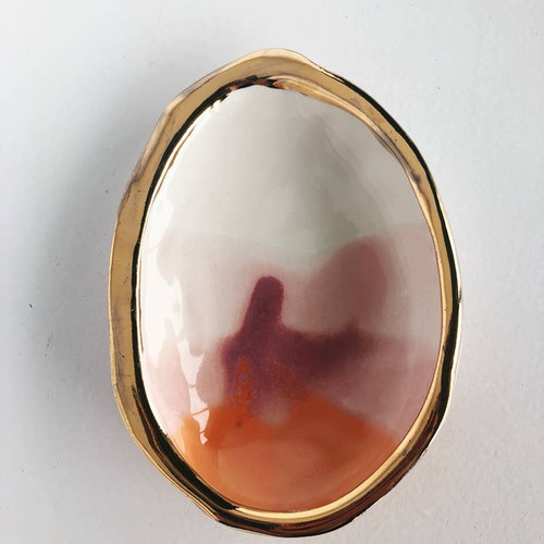 Ceramic Abalone Smudge Dish, in Desert with 22K Gold