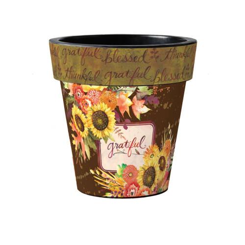 "Grateful Bouquet 15"" Art Planter  ~ Set of 2"