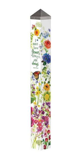 "Watercolor Flowers 40"" Art Pole"