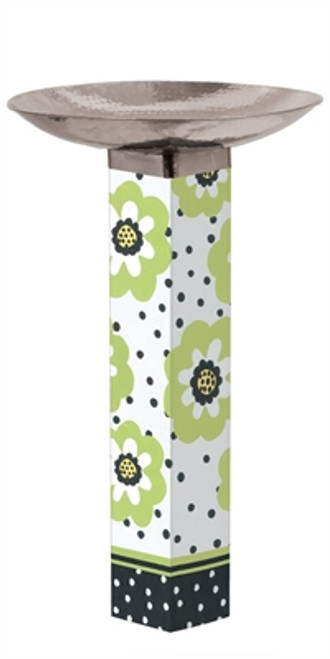 Polka Dots and Flowers Bird Bath Art Pole