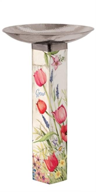 Bloom with Grace Bird Bath Art Pole