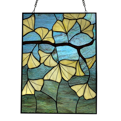 """17.5"""" Ginko Leaves - Stained Glass Panel"""