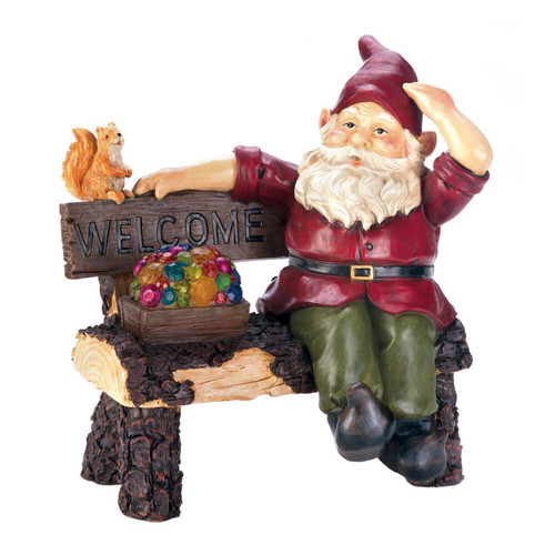 Solar Gnome on Welcome Bench Statue