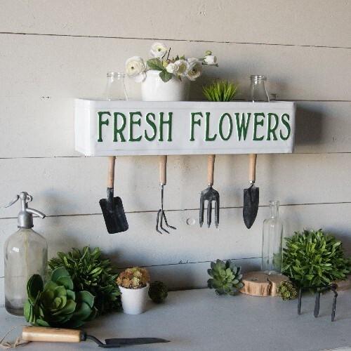 "22.5"" ""Fresh Flowers""  Metal Shelf & Sign by Vip Home"