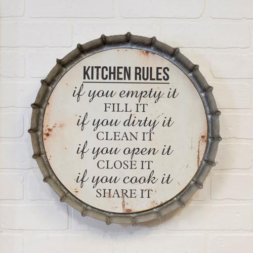 "16""  ""Kitchen Rules"" Metal Bottle Cap Sign"