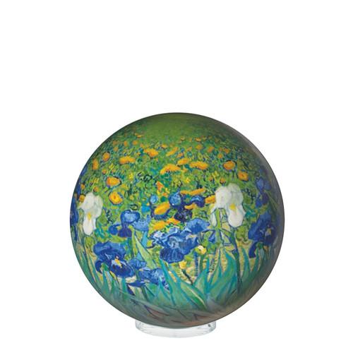 "4.5"" Self Turning Van Gogh Irises  Print on a  Globe with Acrylic Base by Mova"