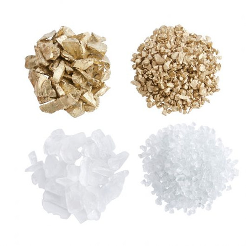 Jar of 37 oz Crushed Glass- Gold, White, Fine and Course