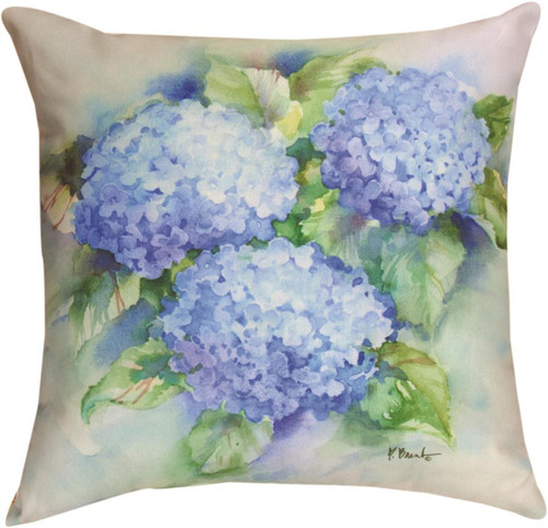 """18"""" Blue Hydrangea ~  Outdoor Climaweave Throw Pillow"""