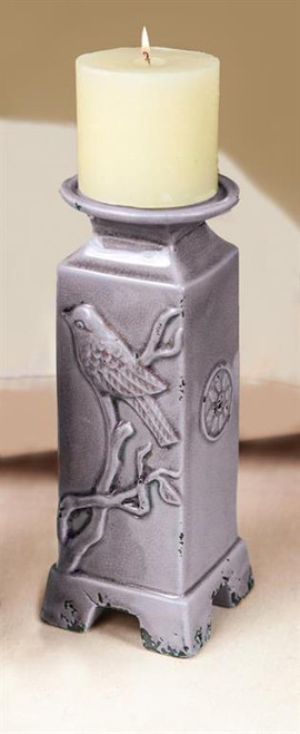 """11"""" Ceramic Candle Holder with Bird"""