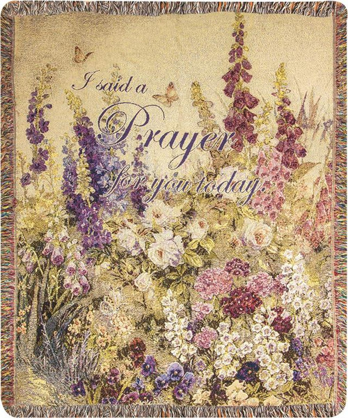 Butterfly Paradise with Prayer Verse  Throw Quilt