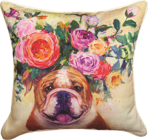 """18"""" Dogs In Bloom Bull Dog ~  Outdoor Climaweave Throw Pillow"""