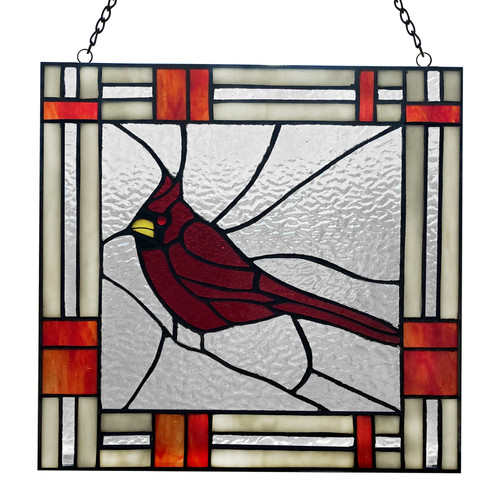 """11"""" Cardinal - Stained Glass Panel"""