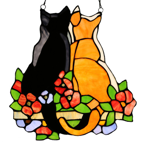 Two Garden Cats - Stained Glass Panel