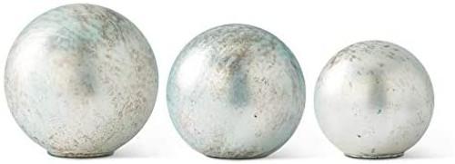 "7"" Glass Auqamarine Tabletop Spheres~ 3 Sizes Graduated"