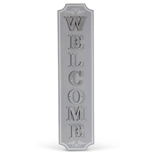 """31"""" Grey/White Wood with Tin """"Welcome"""" Sign"""