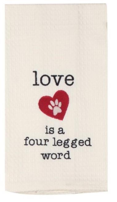 """Love is a Four Legged Word"" Tea Towel by Kaydee Designs"