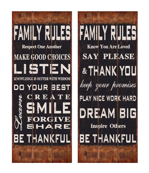 """12"""" Family Rules Wooden Wall Sign - Set of 2"""