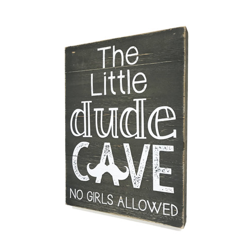 "12"" LIttle Dude Cave - No Girls Allowed  ~  Wooden Wall Sign"