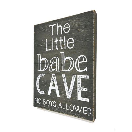 """12"""" LIttle Babe Cave - No Boys Allowed  ~  Wooden Wall Sign"""