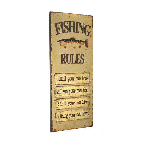 """30"""" Fishing Rules Wooden Sign - Home Decor"""