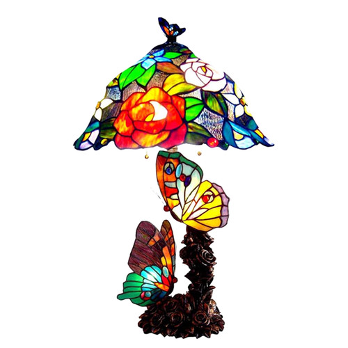 Tiffany Style Stained Glass Butterfly Table Lamp