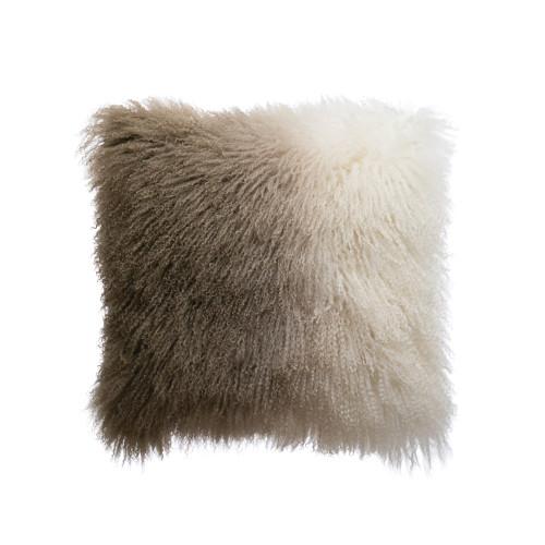 "20"" Sq Mongolian Lamb Fur Pillow, Natural & Charcoal  by Creative Co-op"