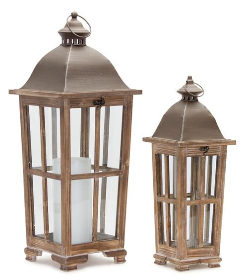 """Melrose Collection"" 36"" Cottage Wooden Deck Lanterns  Set of 2 ~ Drop Ship Only"