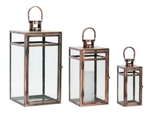 """Melrose Collection"" 20"" Newport Bronze/Gold Metal  Lanterns  Set of 3 ~ Drop Ship Only"