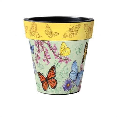 """Butterfly Dance Yellow 15"""" Art Planter  ~ Set of 2"""
