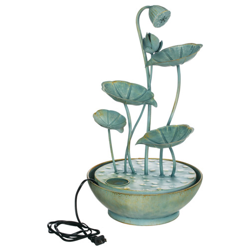 Verdigris Lily Pad Tabletop Fountain by Sullivan Home & Garden