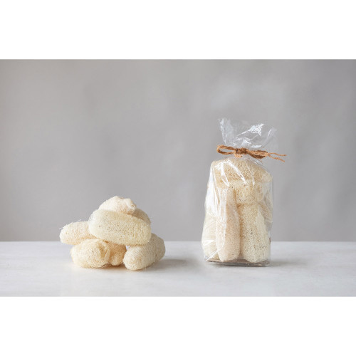 """4"""" Dried Natural Sponge Gourds ~ Bleached (Contains 7 Pieces)"""