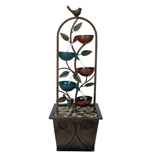 """32"""" Cascading Cups With Bird Indoor Water Fountain by Forside"""