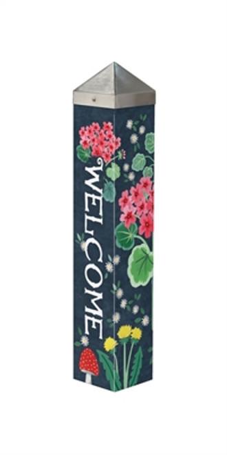 "Geranium Welcome 20""  Art Pole"