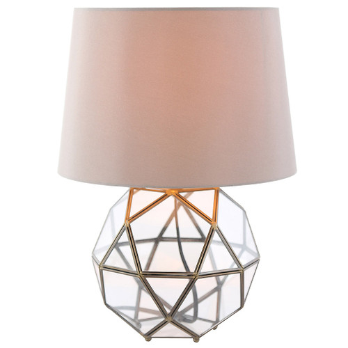 Geometric Glass & Brass Table Memorial Lamp