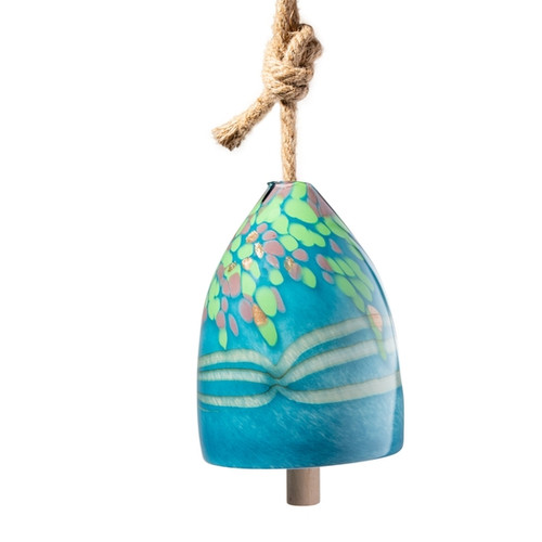 Hand Blown Art Glass Bell Chime - Teal