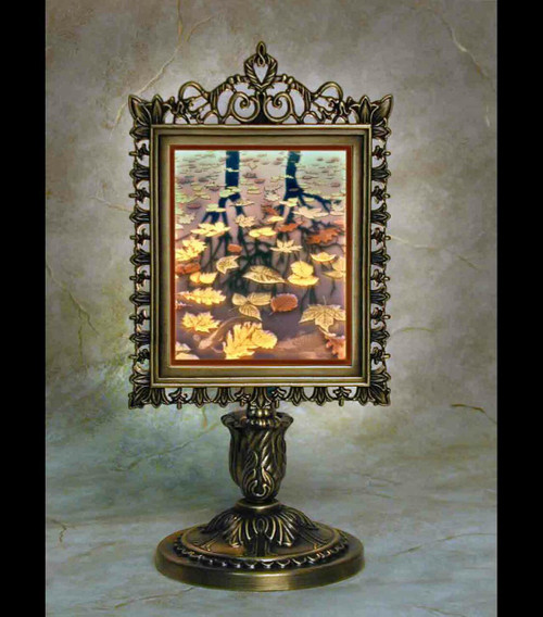 Still Reflections Colored Lithoplane Victorian Stand Accent Lamp