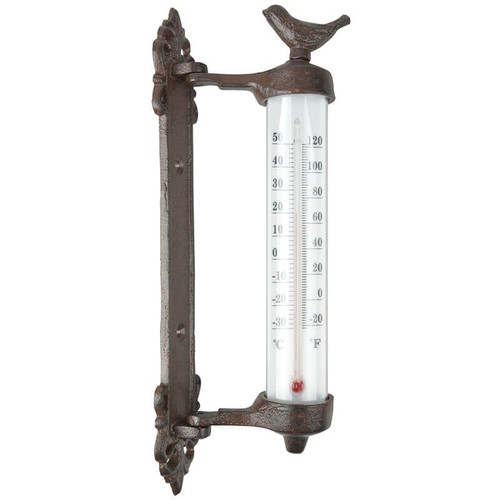Cast Iron Bird Wall Mounted Thermometer