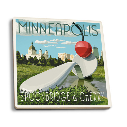 Minnesota Spoon Bridge and Cherry Ceramic Coaster- Set of Four