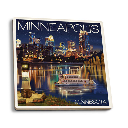 Minnesota Skyline at Night  Ceramic Coaster- Set of Four