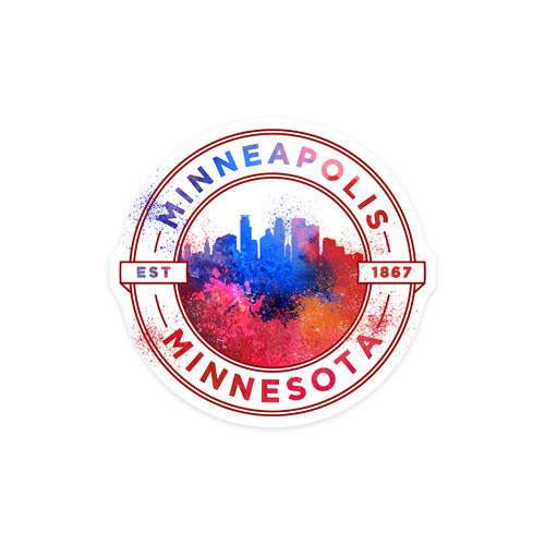 Minneapolis, MN Vibrant Watercolor Contour Large Sticker