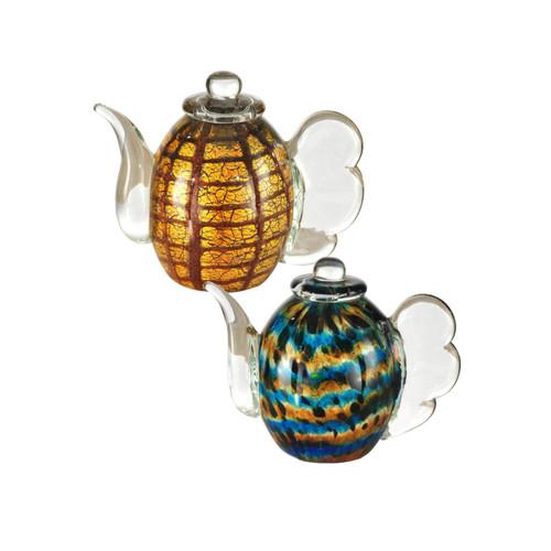 Favrile Art Glass Teapot Set with Hand Blown Art
