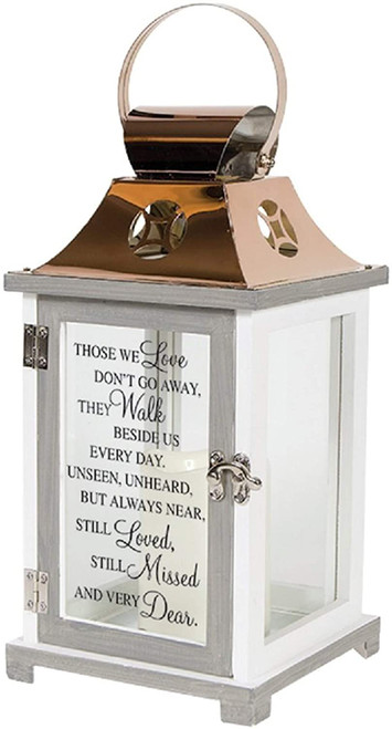 Walk Beside Us Memorial Remembrance Flameless Lantern - By Carson Home Accents