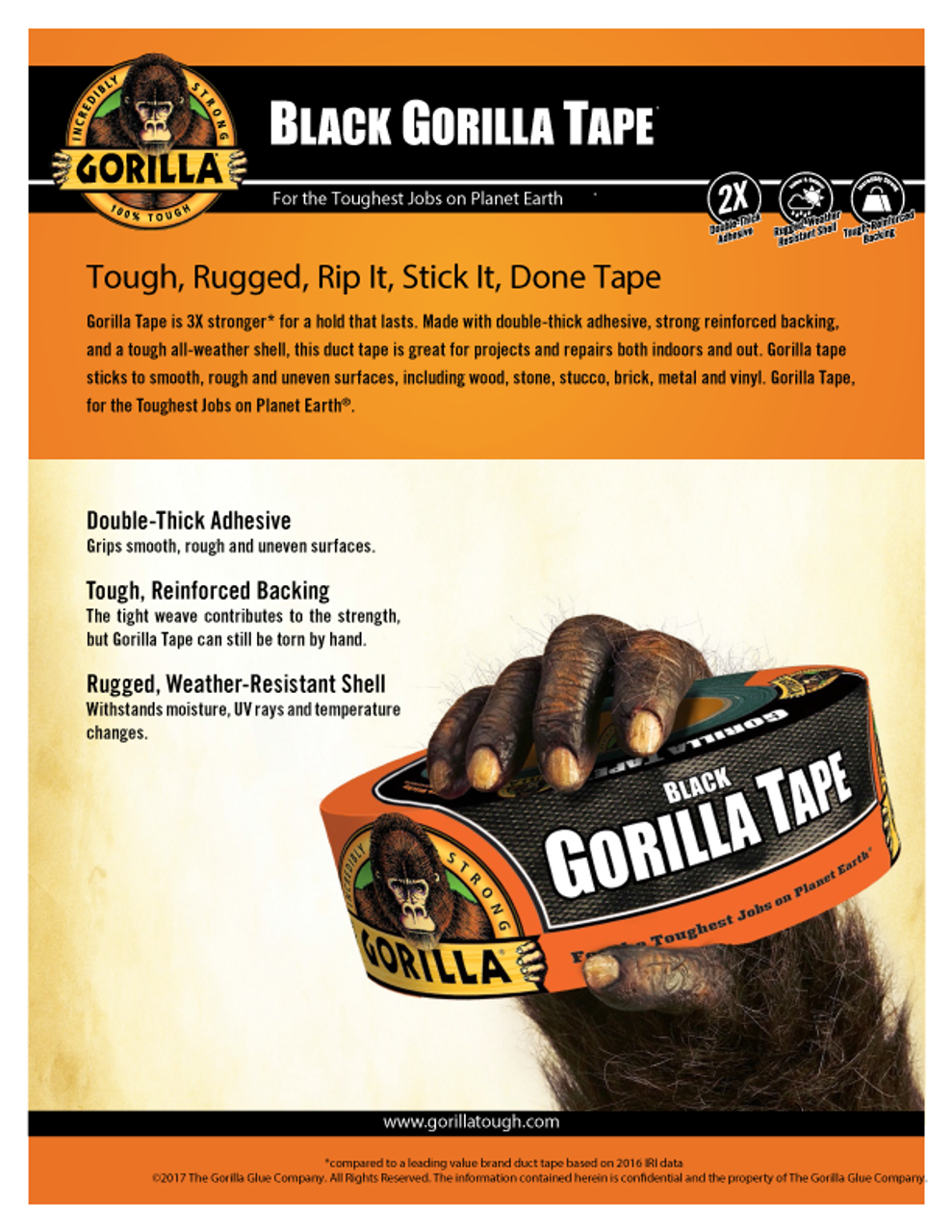Gorilla Glue 6035180 - Black Tape (35 Yd.) - Sell Sheet