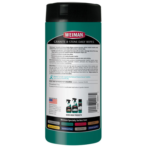 Weiman 94 - Granite Wipes 30 count - Back