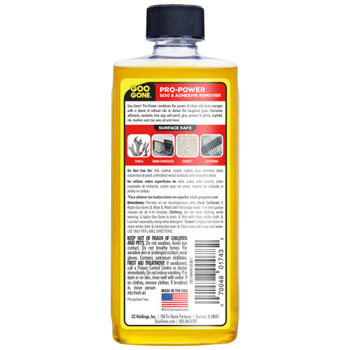 Goo Gone 2037 - Pro-Power Goo & Adhesive Remover PDQ, 8 oz. - Back